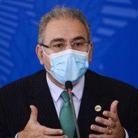 O ministro da Saúde, Marcelo Queiroga, durante entrevista coletiva após reunião do Comitê Nacional de Enfrentamento à Pandemia de Covid-19.